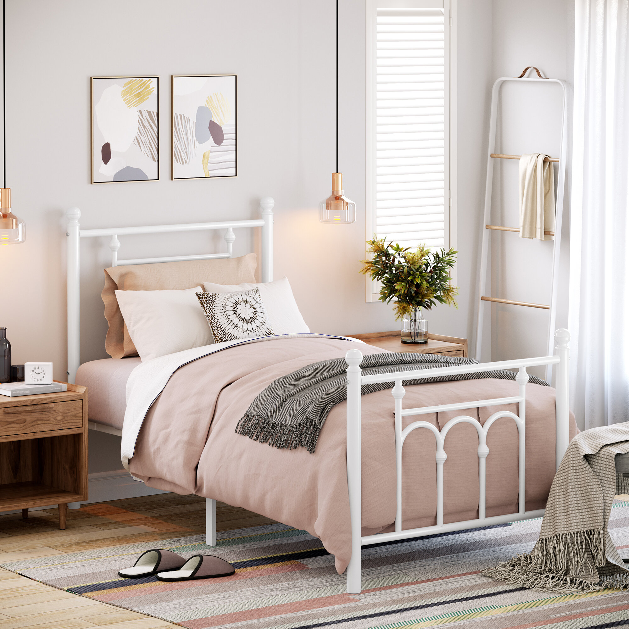 Winston Porter Twin Size Metal Bed Frame With Headboard Footboard No Box Spring Needed Platform Bed Under Bed Storage Victorian Vintage Style White A9d60158f24048059497dcffb0f7ce40 Reviews