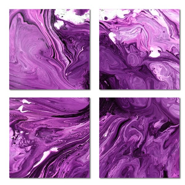 Custom 6 x 6 Beveled Glass Field Tile in Purple by Upscale Designs by EMA