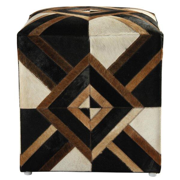 Riley Diamond Leather Cube Ottoman By Bloomsbury Market