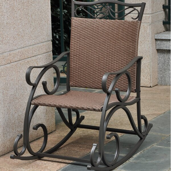 Nome Wicker Resin & Steel Patio Rocking Chair by Fleur De Lis Living
