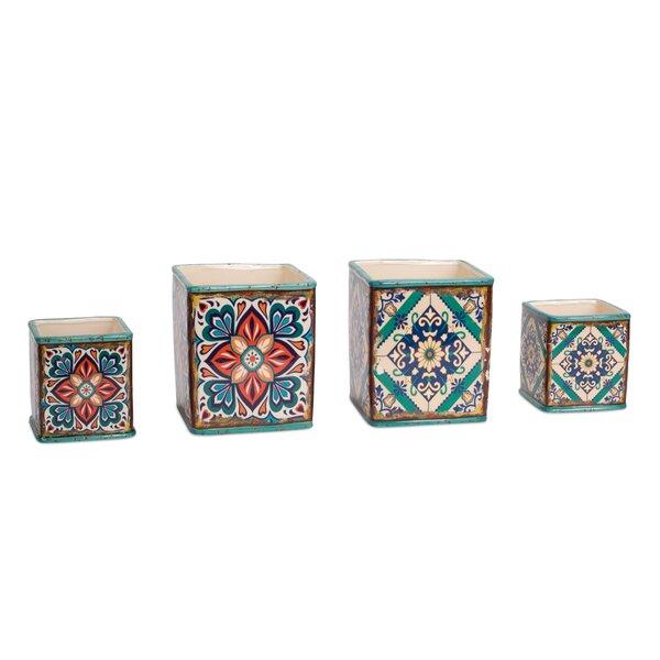 Jakob Blue Tile 8 Piece Pot Planter Set by Charlton Home