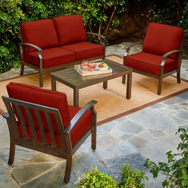 Yandel Bridgeport 4 Piece Conversation Set with Cushions by Darby Home Co