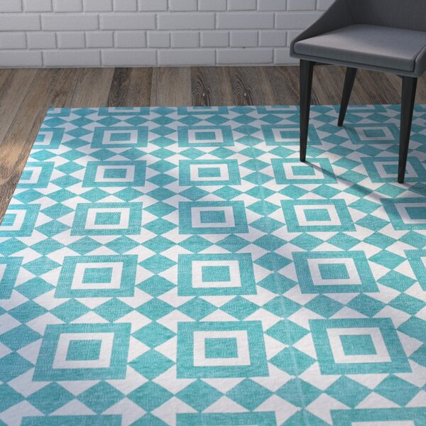 Paolucci Hand-Woven Turquoise Area Rug by Wrought Studio