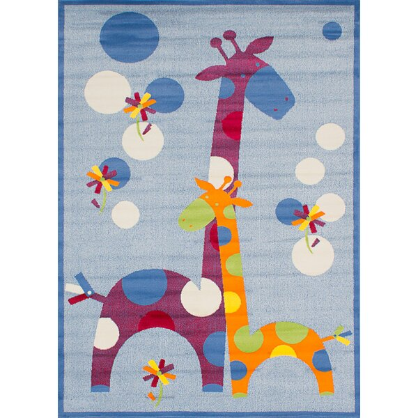Hixon Cream/Slate Blue Area Rug by Zoomie Kids