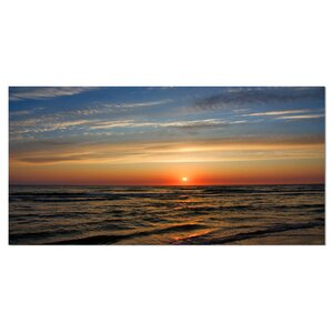 Red Sunset with Dark Ocean Waves Seashore Photographic Print on Wrapped Canvas by Design Art