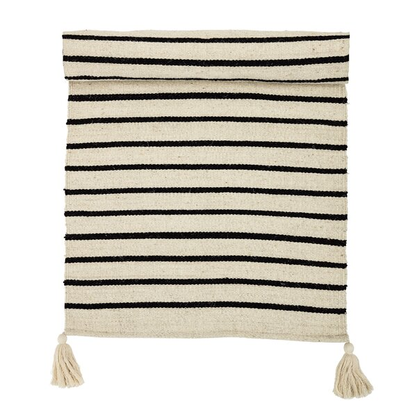 Palermo Hand-Woven Cotton Tan/Black Area Rug by Gracie Oaks