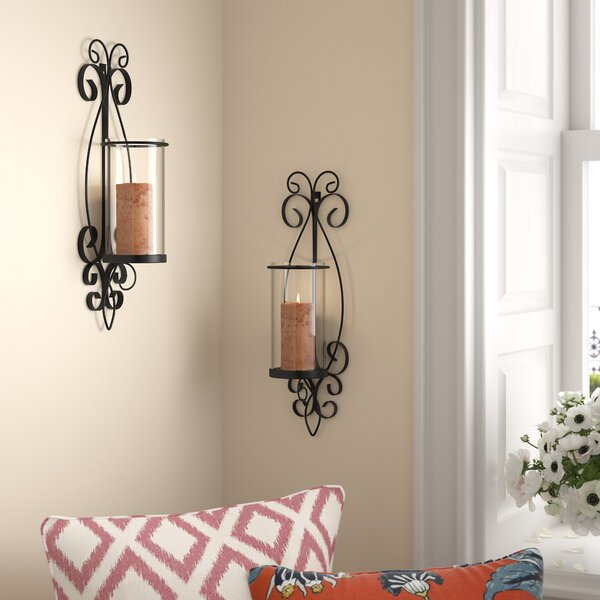 Glass/Iron Sconce (Set of 2) by Alcott Hill