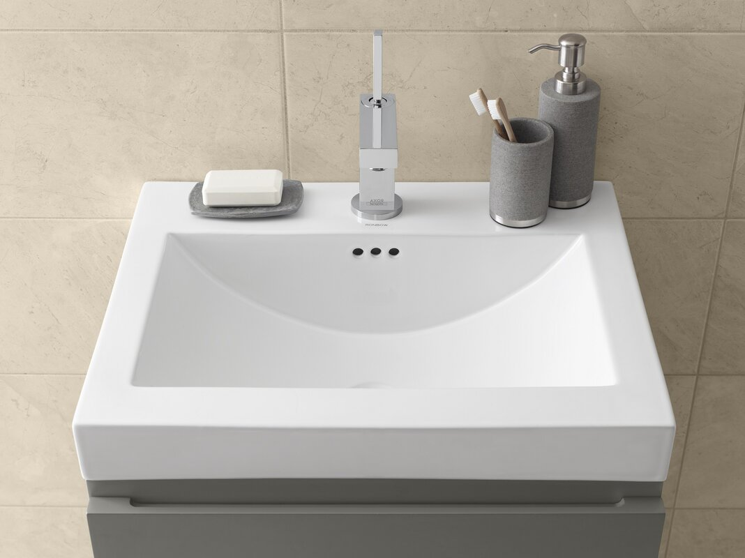 Ronbow Ceramic Rectangular Vessel Bathroom Sink With Overflow