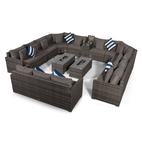 Villasenor Grey Rattan 10 Seat Sofa With 2 X Rectangle Ice B
