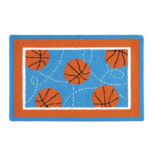 Dolson Basketball Sport Blue Area Rug by Zoomie Kids