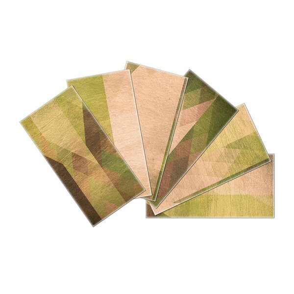 Crystal Skin 3 x 6 Glass Subway Tile in Green/Beige by SkinnyTile