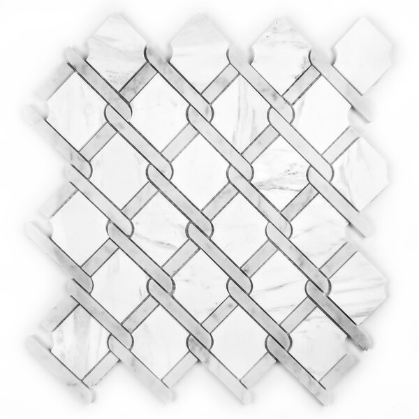 Tuscany Diamond Random Sized Marble Mosaic Tile in White by Abolos