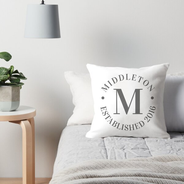 Personalized Circle Family Name and Year Throw Pillow by 4 Wooden Shoes