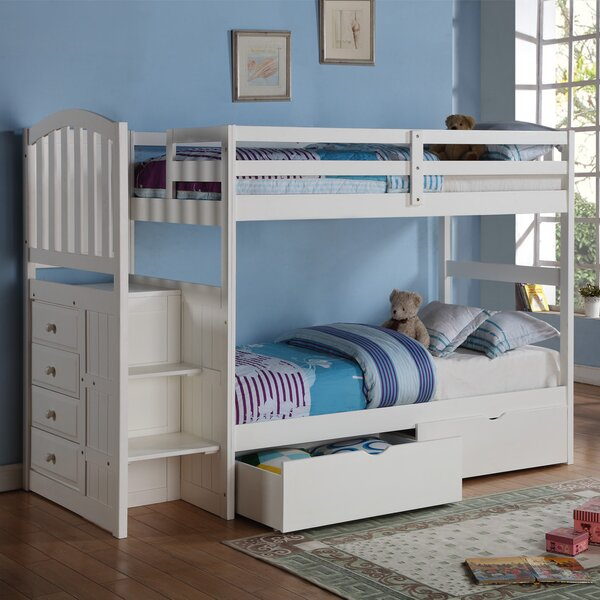 Ruelas Twin Over Twin Bunk Bed with Drawers by Harriet Bee