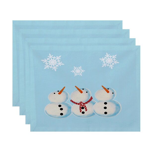 3 Wise Snowmen Geometric Print Placemat (Set of 4) by The Holiday Aisle