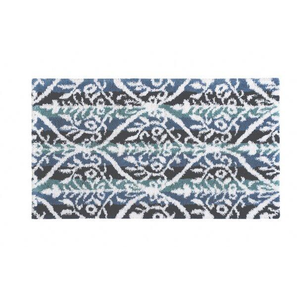 Drexil Rectangle 100% Cotton Non-Slip Geometric Bath Rug