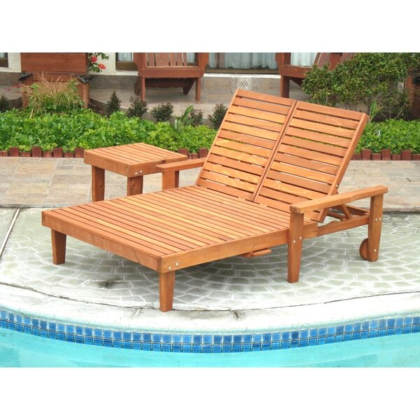 Varda Wheel Double Chaise Lounge with Arms