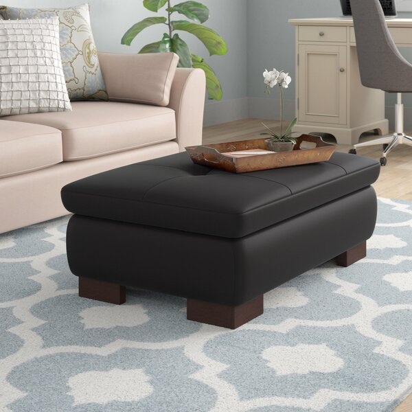 Cassville Leather Ottoman by Wade Logan