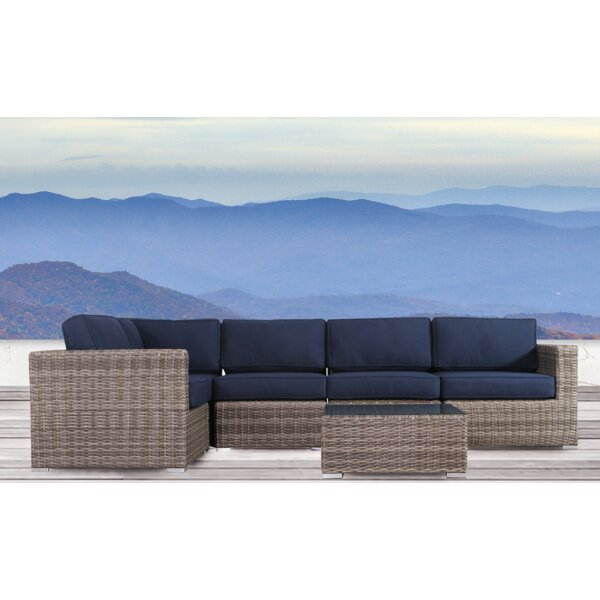 Lazaro 6 Piece Rattan Sectional Seating Group with Sunbrella Cushions by Sol 72 Outdoor