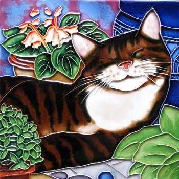 Sleeping Cat Tile Wall Decor by Continental Art Center