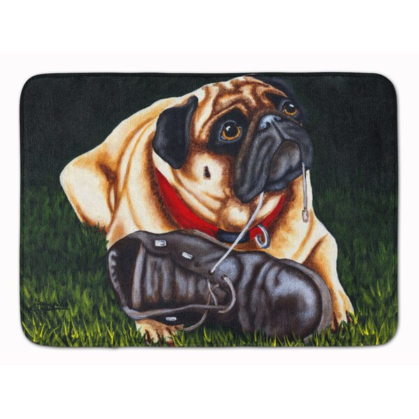 Cluster Buster the Pug Rectangle Microfiber Non-Slip Bath Rug