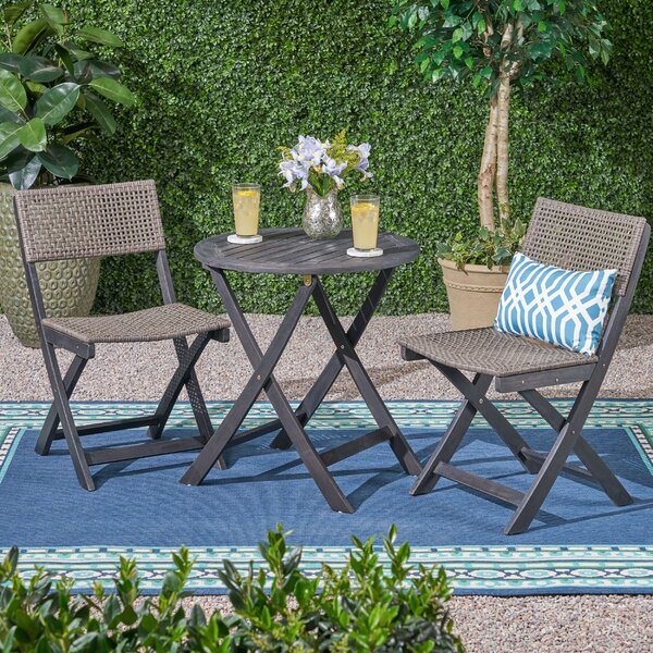 Mcclaskey Outdoor Wicker Foldable 3 Piece Bistro Set by Bungalow Rose