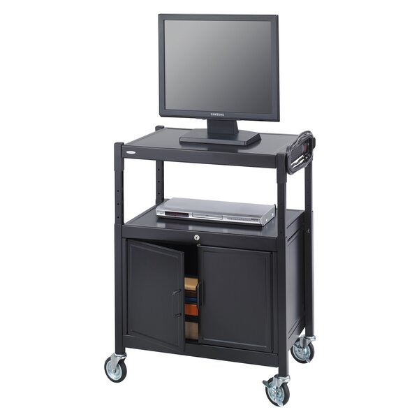 Adjustable Mobile AV Cart with Locking Cabinet by Safco Products Company