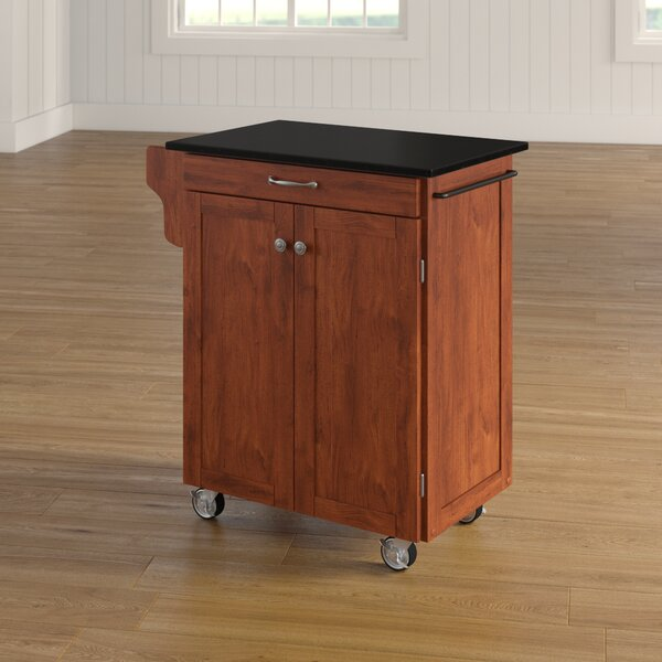 Delana Granite Top Kitchen Cart by Charlton Home
