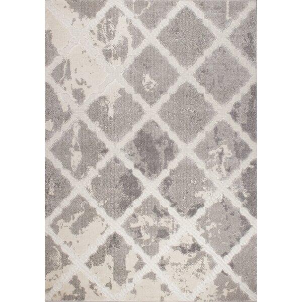 Cornelia Trellis Cream/Gray Area Rug by Wrought Studio