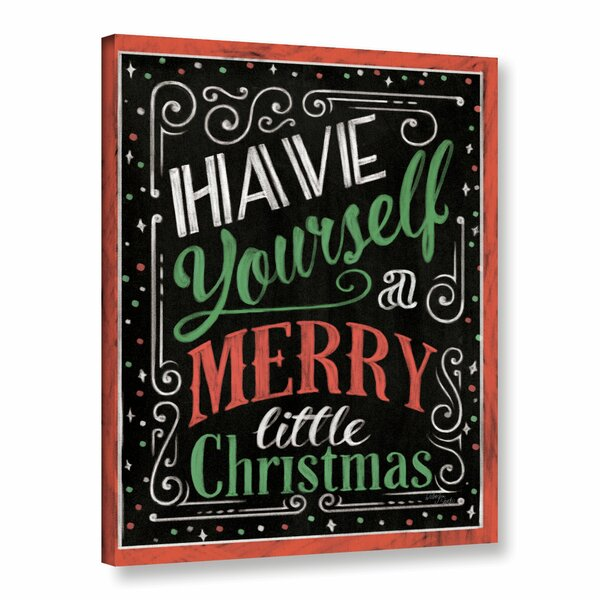Holiday Chalk Green Red Border Textual Art on Wrap