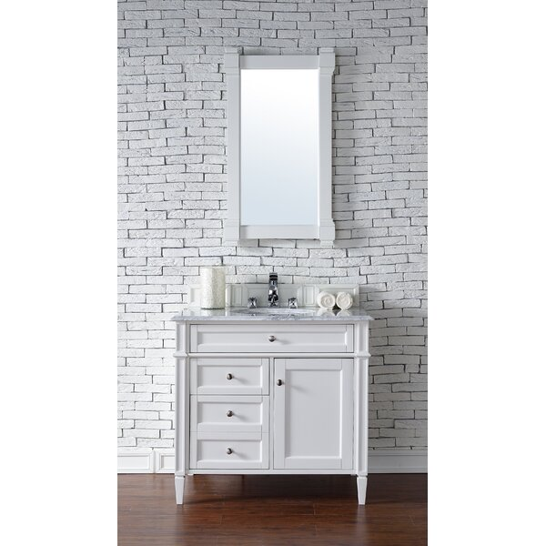 Deleon 36 Single Cottage White Marble Top Bathroom Vanity Set by Darby Home Co