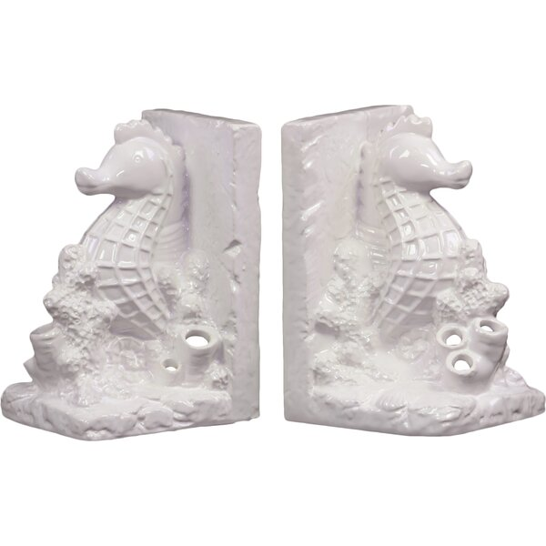 Ceramic Sea Horse Bookend Gloss Turquoise (Set of 2) by Urban Trends