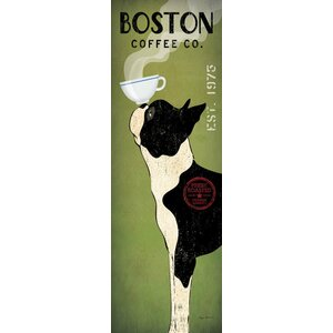 'Boston Terrier Coffee Co.' by Ryan Fowler Wall Art on Wrapped Canvas by East Urban Home