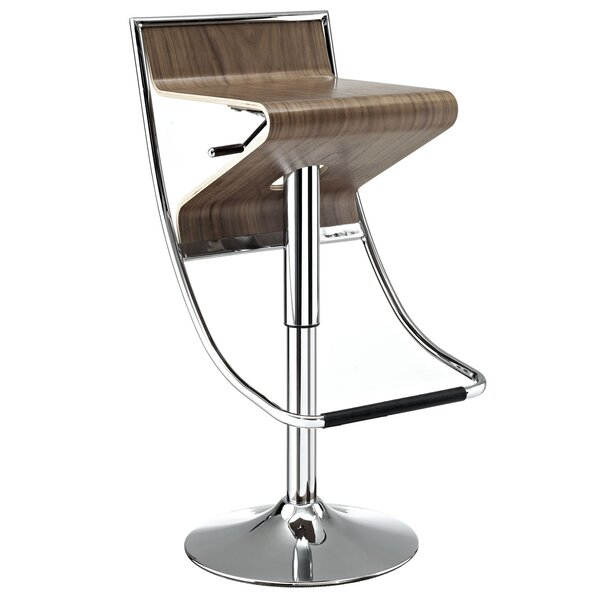 Zig-Zag Adjustable Height Swivel Bar Stool by Modway