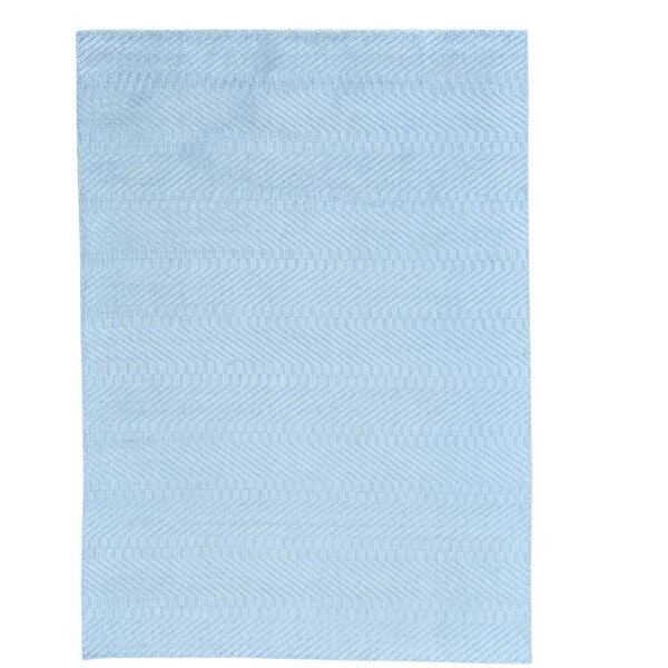 Tone on Tone Oriental Hand-Knotted Silk Blue Area Rug by Bungalow Rose