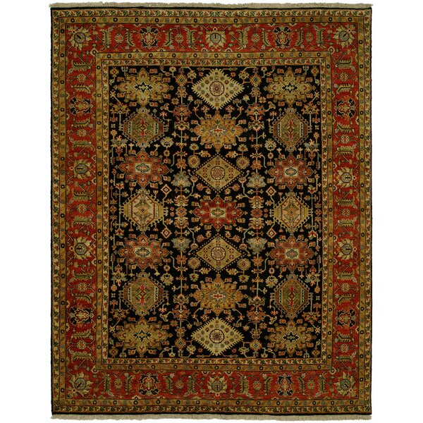 Mcnabb Hand Knotted Wool Black/Red Area Rug