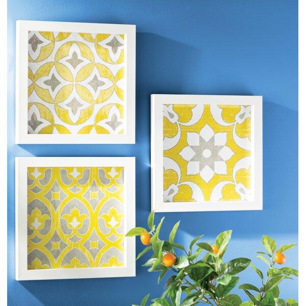 Tuscan Tiles 3 Piece Framed Graphic Art Print Set