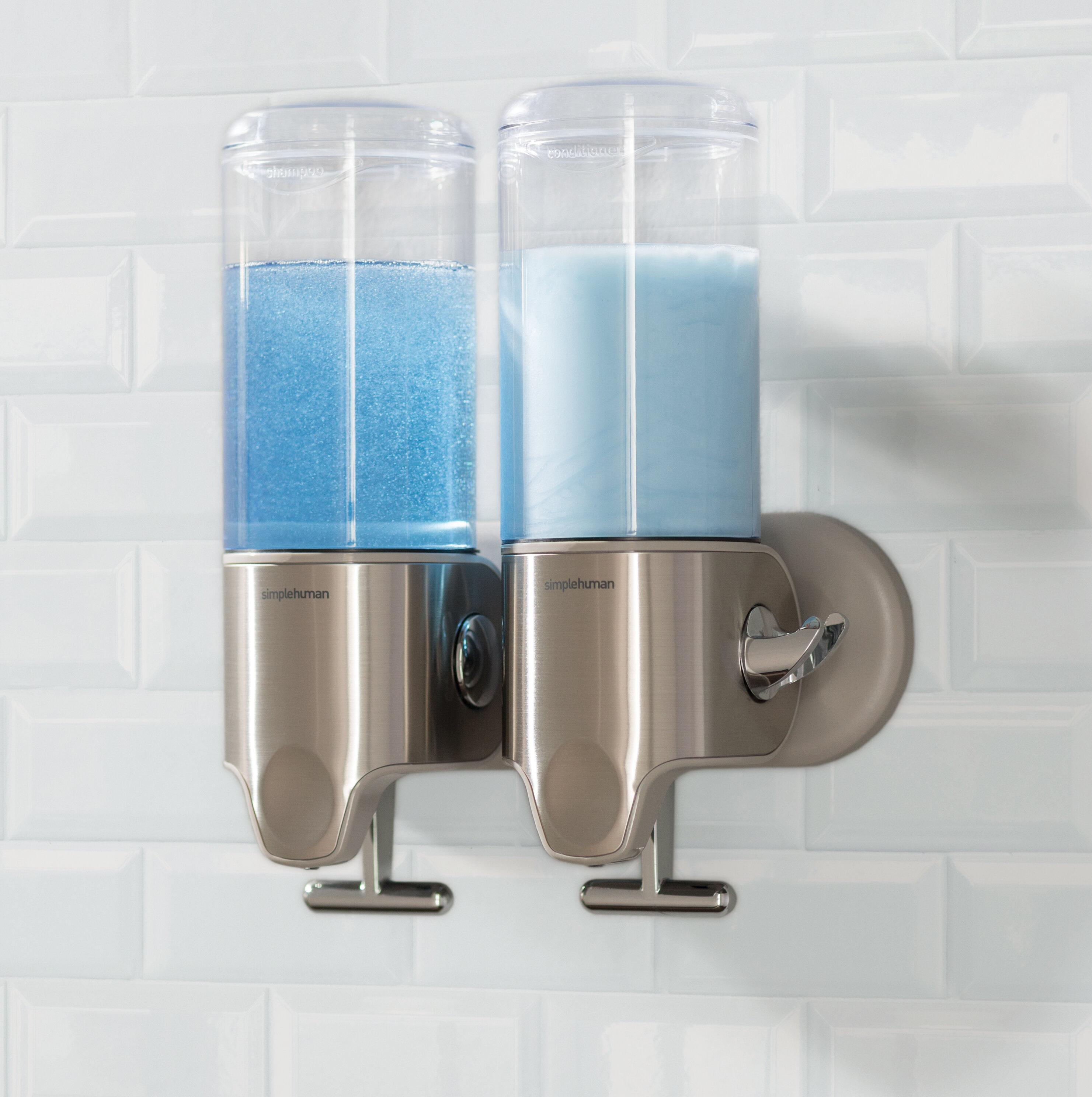 Simplehuman Twin Wall Mount Soap Pumps 15 Fl Oz Each Stainless Steel Reviews Wayfair