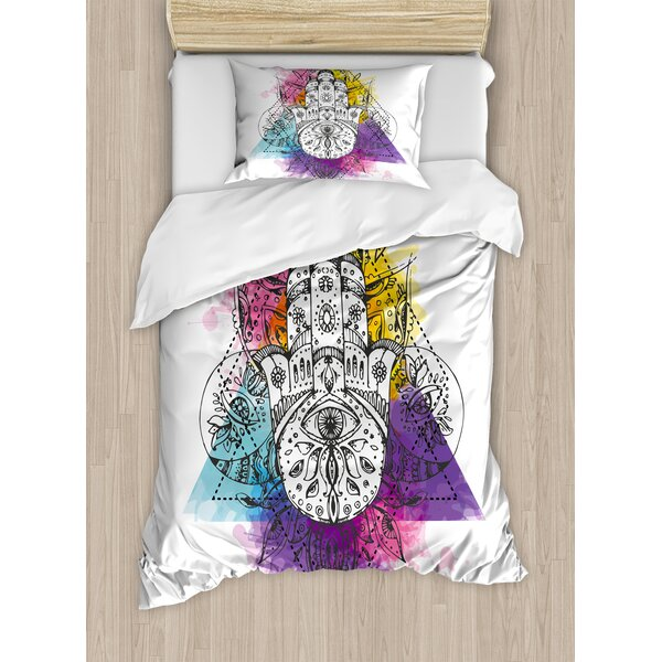 Evil Eye Artistic Sketch Hand of Fatima Triangular with Watercolor Splashes Middle Eastern Duvet Set by Ambesonne