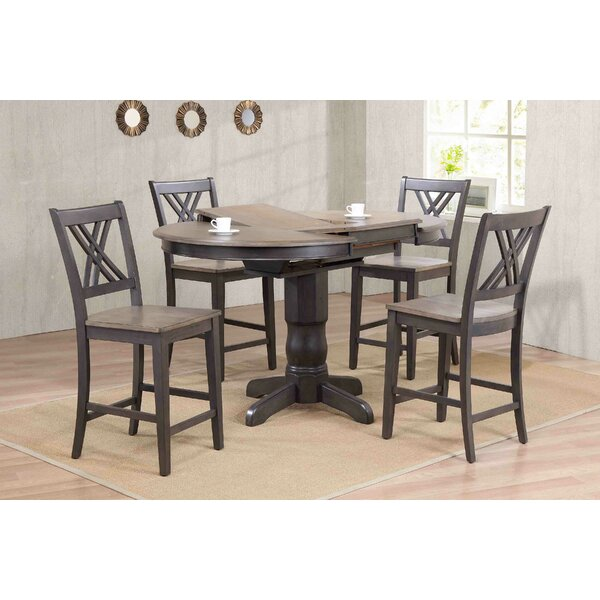 Double X- Back Counter Height 5 Piece Pub Table Set by Iconic Furniture