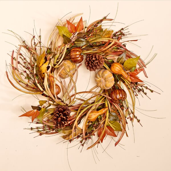 24 Gourd, Leaf and Grass Wreath by Worth Imports