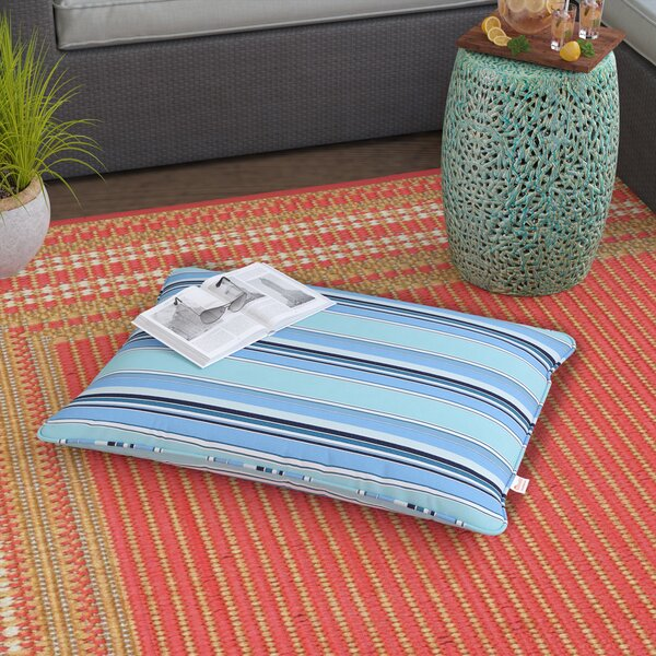 Montclaire Stripe Piped Indoor/Outdoor Sunbrella Floor Pillow by Rosecliff Heights