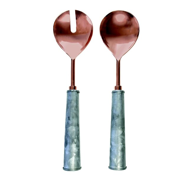 2-Piece Handmade Copper Head and Galvanized Spoon Set by ZallZo