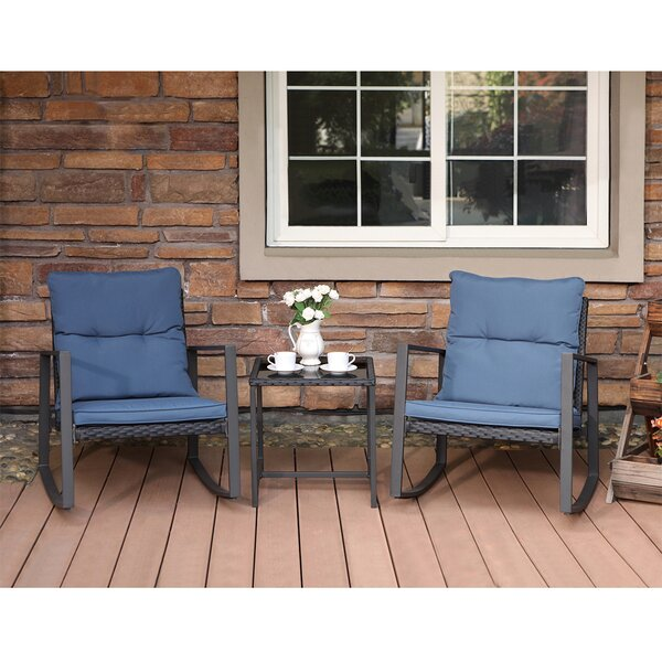 Arlean 3 Piece Bistro Set with Cushions by Breakwater Bay