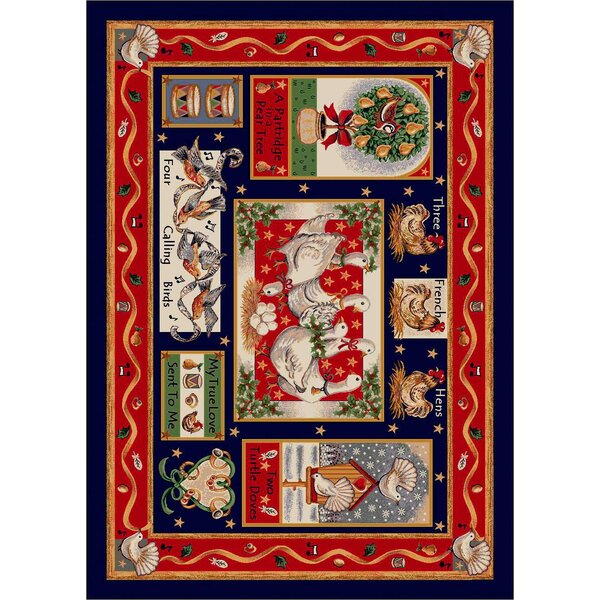 Winter Seasonal Holiday Partridge in a Pear Tree Christmas Red Area Rug by Milliken