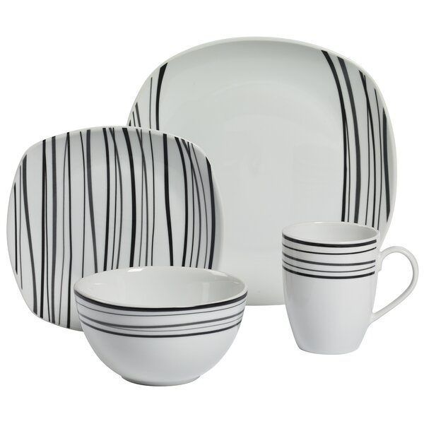 Justin 16 Piece Dinnerware Set, Service for 4 by Tabletops Gallery