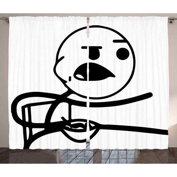 Funny Stickman Humor Decor Graphic Print Room Darkening Rod Pocket Curtain Panels (Set of 2) by East Urban Home