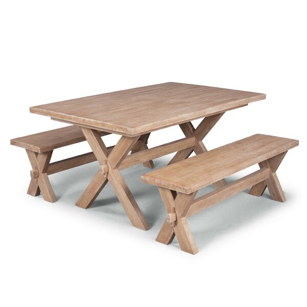 Romford 3 Piece Solid Wood Dining Set by Three Posts