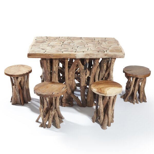 Chardon 5 Piece Solid Wood Dining Set by Millwood Pines