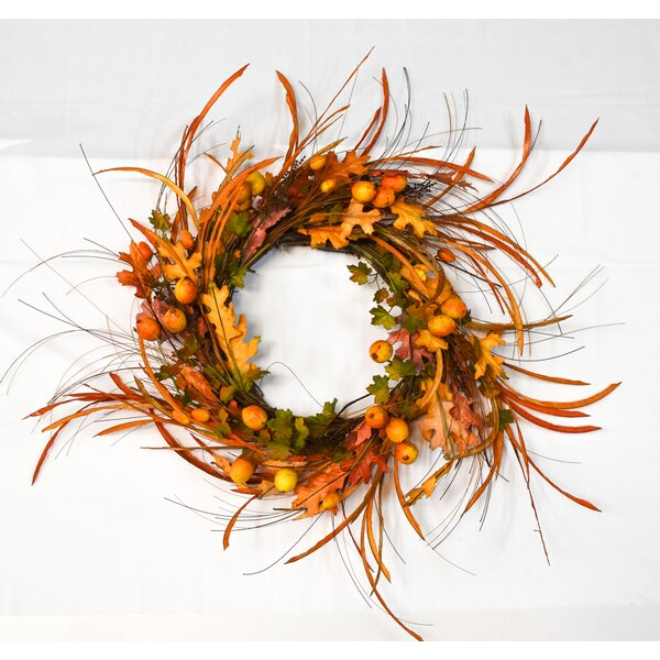 Fall Persimmon 20 Wreath by August Grove